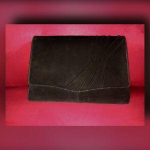 Vintage Black Suede Shoulder Bag/Clutch